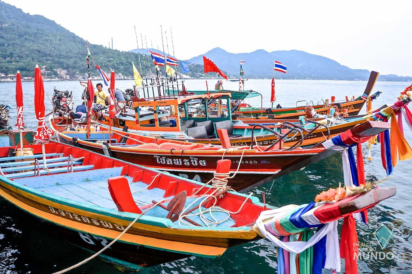 longtail boats em Ko Tao