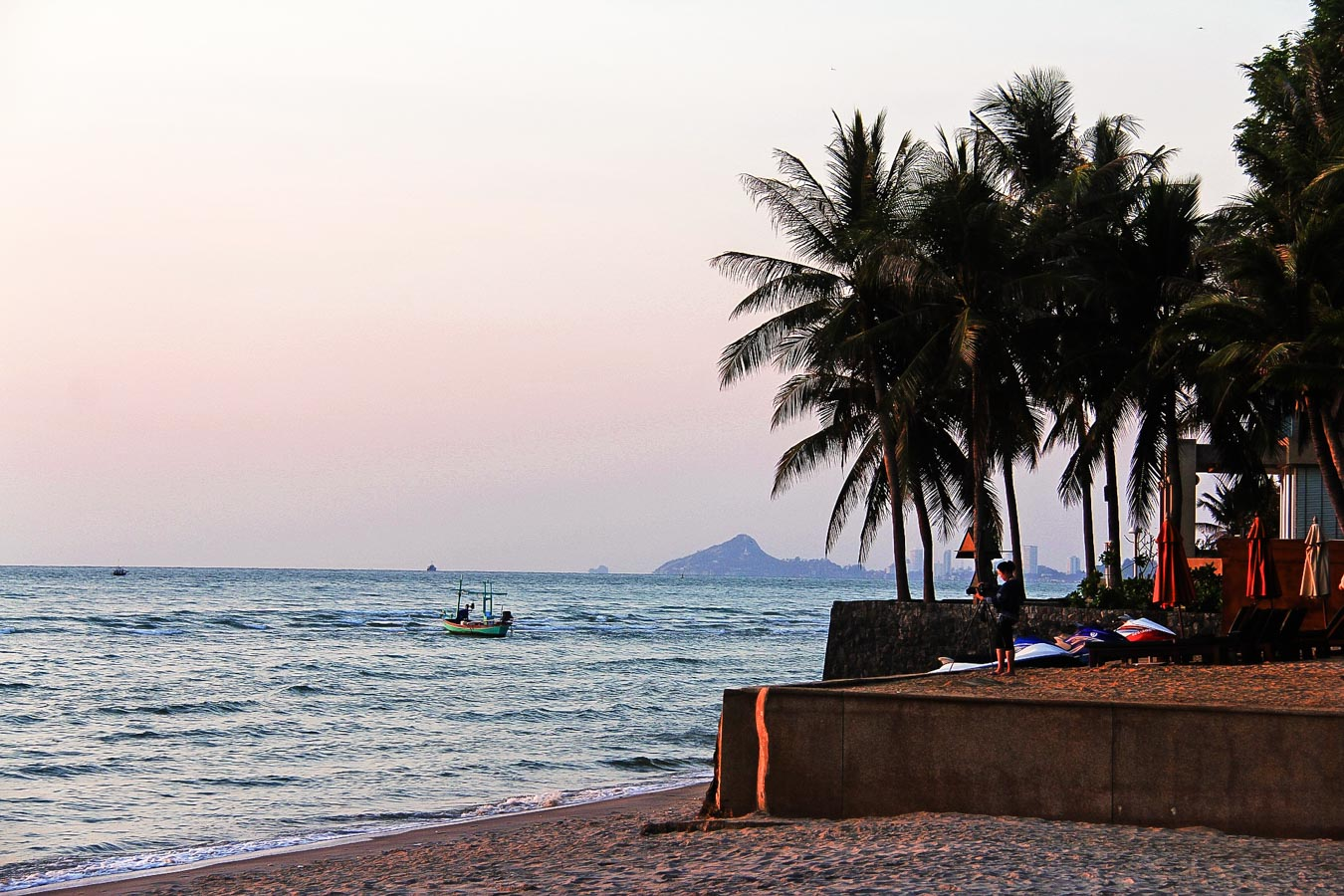 Hua Hin Tailândia - Por do sol na praia