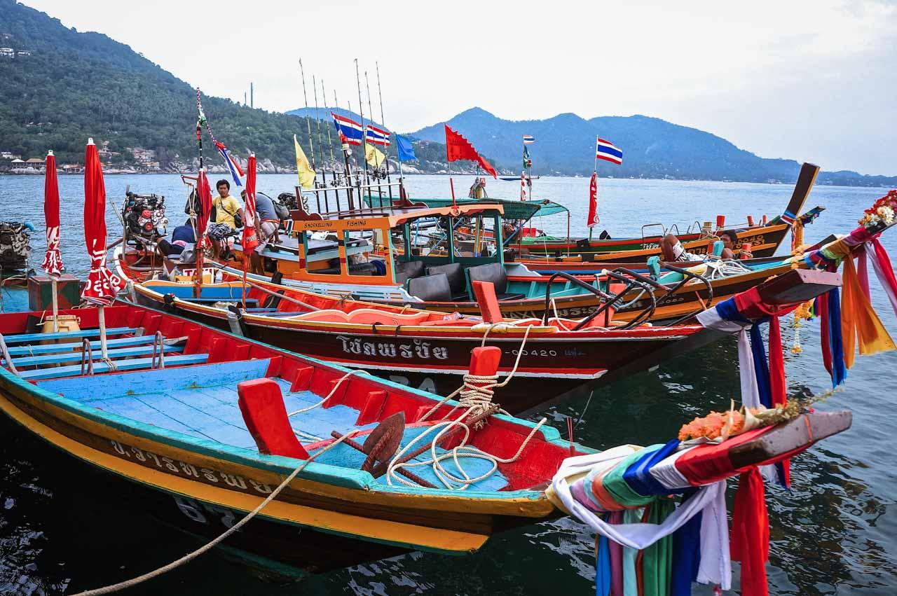 koh phangan tailandia barcos tradicionais tailandeses