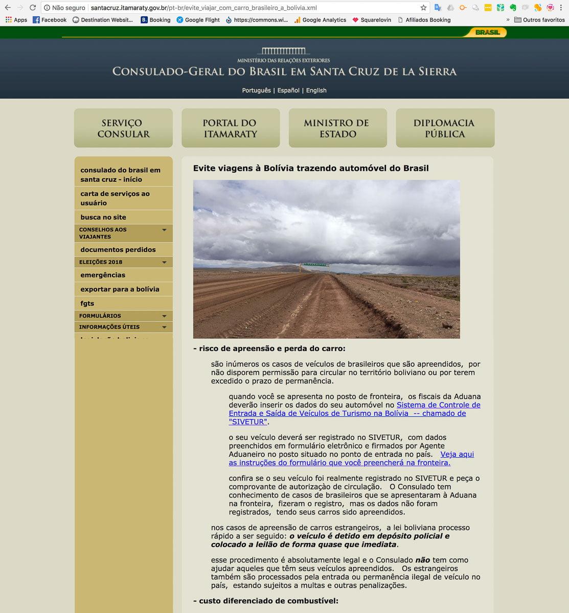 Documentos para viajar de carro pela Bolívia - Site do Consulado
