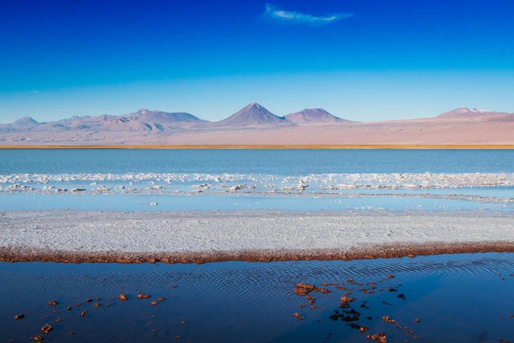 Deserto do Atacama Chile - Foto da Laguna Tebenquiche com o vulcão Lincancabur ao fundo