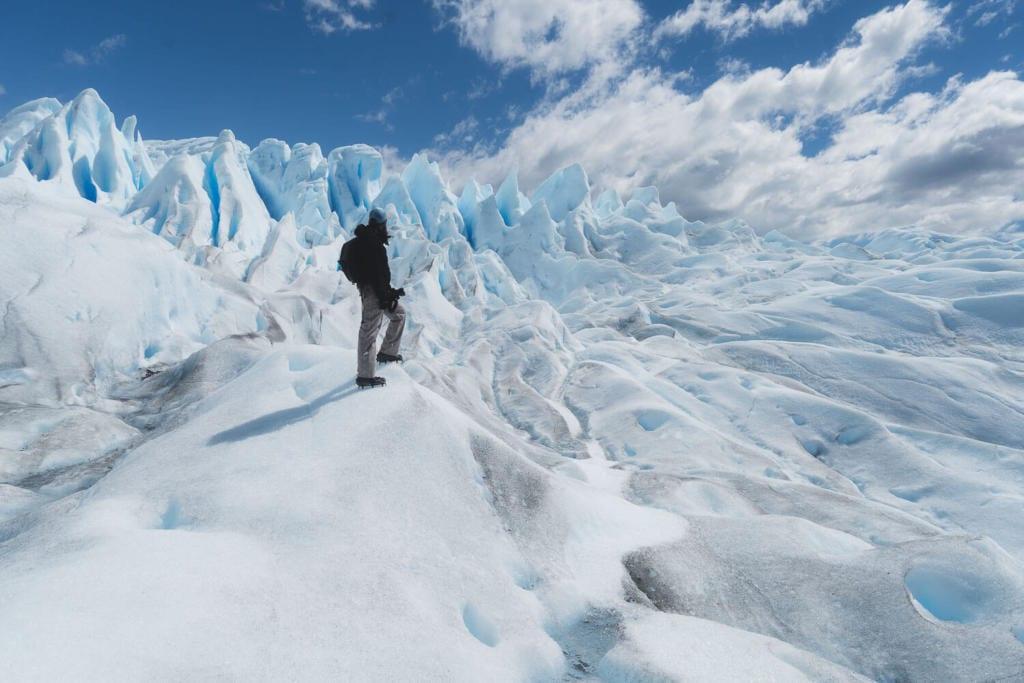 O que Fazer Em El Calafate Perito Moreno Argentina - Foto tirada do Caio no meio do Glaciar Perito Moreno quando fez o mini trekking