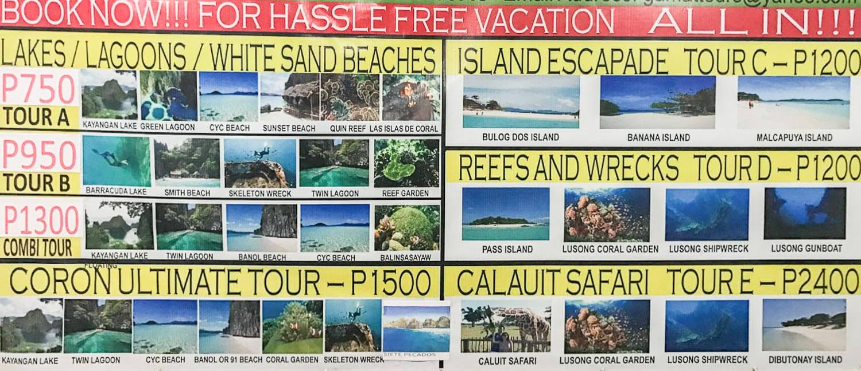 Foto da tabela de preço dos passeios - Coron Filipinas