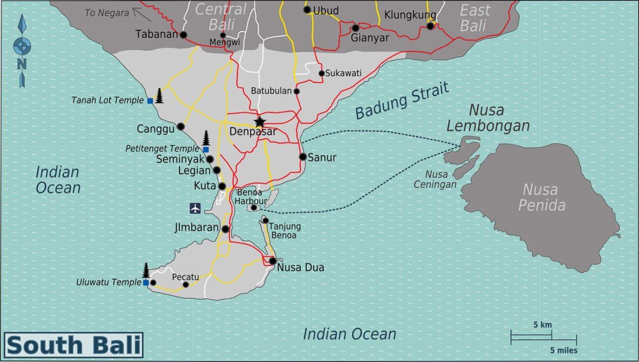 O que fazer em Bali -  Mapa Sul