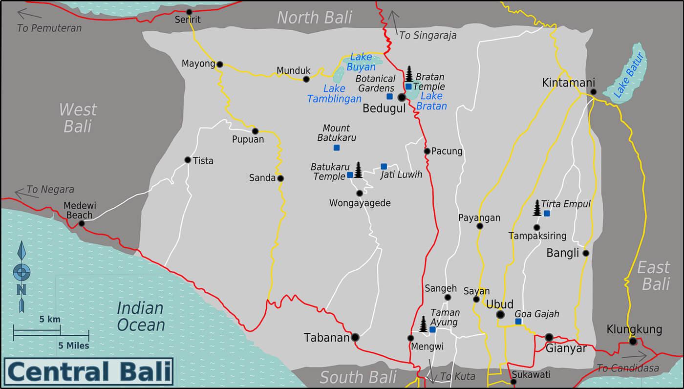 O que fazer em Bali - Mapa central