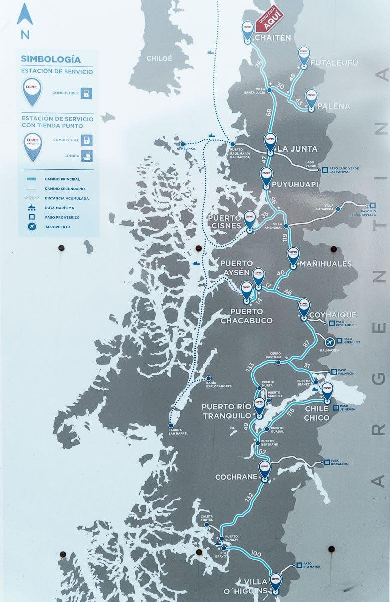 Carretera Austral Chile - Postos de Gasolina