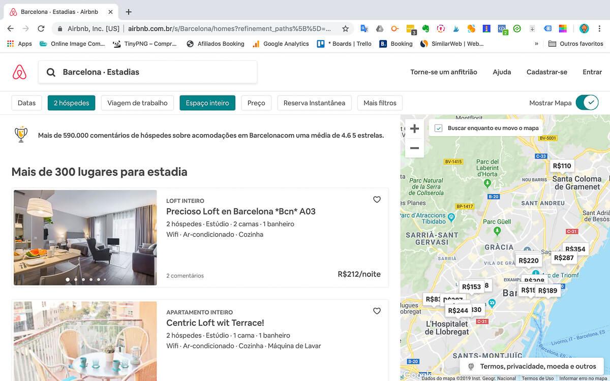 Como funciona o Airbnb - Lista e mapa